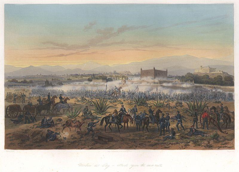 A painting depicting the attack at Casa Mata
