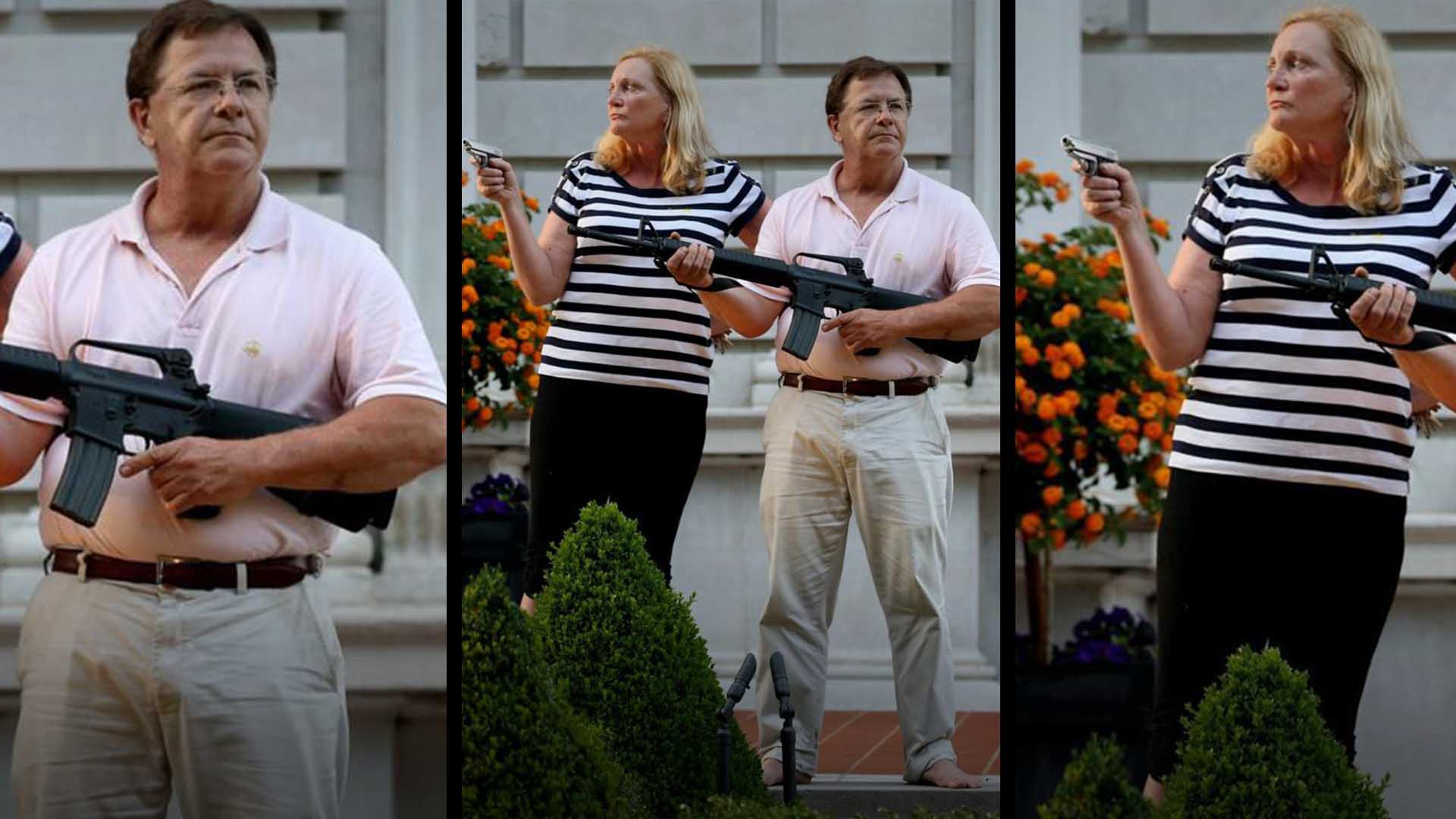St. Louis Couple Wave Guns at Protesters
